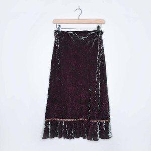 Vintage MNG Mango velvet heart midi skirt